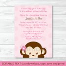 Mod Girl Monkey Jungle Safari Printable Baby Shower Invitation Editable PDF #A167