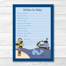 Ahoy Mate Whale Island Monkey Printable Baby Shower Wishes For Baby Advice Cards #A171