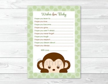 Mod Monkey Jungle Safari Printable Baby Shower Wishes For Baby Advice Cards #A125