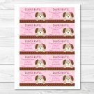 Pink Polka Dot Puppy Dog Printable Baby Shower Diaper Raffle Tickets #A152