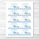Blue And Grey Polka Dot Elephant Printable Baby Shower Diaper Raffle Tickets #A135