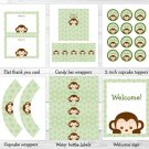 Mod Boy Monkey Jungle Safari Green Printable Baby Shower Party Package #A125