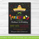 Fiesta Birthday Invitation Chalkboard Fiesta Any Age Printable Editable PDF #A180