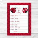 Little Red Ladybug Printable Baby Shower Wishes For Baby Advice Cards #A177