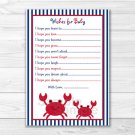 Nautical Crab Under The Sea Printable Baby Shower Wishes For Baby Advice Cards #A182