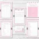 Modern Pink Chevron Baby Shower Games Pack - 6 Printable Games #A127