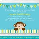 Lil Mod Monkey Printable Birthday Invitation Editable PDF #A192
