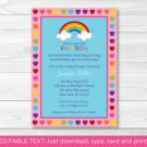 Rainbow Hearts Printable Baby Shower Invitation Editable PDF #A194