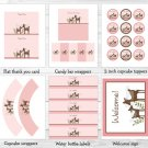 Pink Willow Deer Baby Girl Printable Baby Shower Party Package #A200