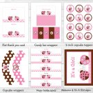 Pink Ladybug Printable Baby Shower Party Package #A122