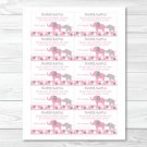 Pink And Gray Polka Dot Elephant Printable Baby Shower Diaper Raffle Tickets #A160