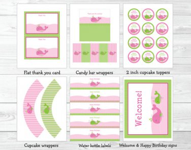 Preppy Pink Whale Printable Birthday Party Package #A205