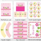 Girl Frog Dragonfly Garden Printable Baby Shower Party Package #A209