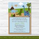 Dinosaur Dino Land Printable Baby Shower Invitation Editable PDF #A213