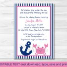 Pink Crab Nautical Under The Sea Printable Baby Shower Invitation Editable PDF #A121