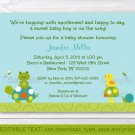 Pond Pals Turtle Frog Printable Baby Shower Invitation Editable PDF #A219