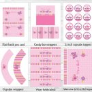 Baby Girl Pink Butterfly Garden Printable Baby Shower Party Package #A221