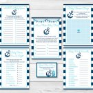 Nautical Anchor Baby Shower Games Pack - 6 Printable Games #A222