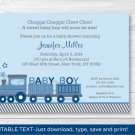 Choo Choo Train Baby Boy Printable Baby Shower Invitation Editable PDF #A224
