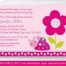 Ladybug Pink Purple Flower Garden Printable Baby Shower Invitation Editable PDF #A227