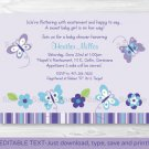 Lavender Butterfly Garden Printable Baby Shower Invitation Editable PDF #A218