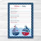 Sail Away Sailboat Nautical Printable Baby Shower Wishes For Baby Advice Cards #A123