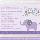 Mod Elephant Owl Forest Friends Printable Baby Shower Invitation Editable PDF #A100