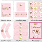Pink Safari Girl Jungle Animal Printable Baby Shower Party Package #A229