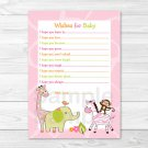 Safari Girl Jungle Animal Printable Baby Shower Wishes For Baby Advice Cards #A229