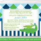 Preppy Alligator Argyle Printable Baby Shower Invitation Editable PDF #A232