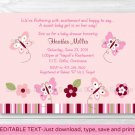 Taffy Pink Butterfly Paradise Printable Baby Shower Invitation Editable PDF #A233