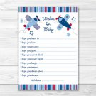 Lil Aviator Airplane Printable Baby Shower Wishes For Baby Advice Cards #A112