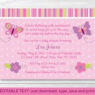Baby Girl Pink Butterfly Printable Baby Shower Invitation Editable PDF #A221