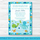 Under The Sea Octopus Crab Whale Nautical Baby Shower Invitation Editable PDF #A237