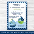 Sail Away Sailboat Nautical Green Printable Baby Shower Invitation Editable PDF #A210