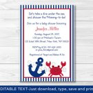 Nautical Crab Under The Sea Printable Baby Shower Invitation Editable PDF #A182
