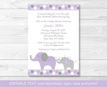 Lavender Polka Dot Jungle Elephant Printable Baby Shower Invitation Editable PDF #A242