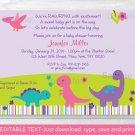 Girl Dinosaur Printable Baby Shower Invitation Editable PDF #A243