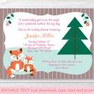 Woodland Girl Fox Momma & Baby Printable Baby Shower Invitation Editable PDF #A244