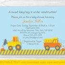 Construction Trucks Baby Boy Printable Baby Shower Invitation Editable PDF #A117