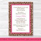 Pink Cheetah Print Printable Baby Shower Invitation Editable PDF #A251