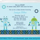 Baby Bots Boy Robot Printable Baby Shower Invitation Editable PDF #A252
