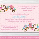 Sweet Baby Owl Pink Love Birds Printable Baby Shower Invitation Editable PDF #A253