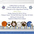 Sports All Star Play Ball Printable Baby Shower Invitation Editable PDF #A257