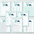 Little Blue Whale Nautical Baby Shower Games Pack - 8 Printable Games #A129