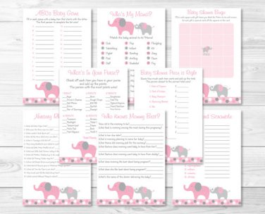 Pink And Gray Polka Dot Elephant Baby Shower Games Pack - 8 Printable Games #A160