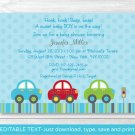 Colorful Cars Printable Baby Shower Invitation Editable PDF #A263