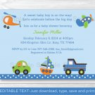Car Truck Boat Airplane Helicopter Printable Baby Shower Invitation Editable PDF #A111