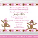 Pink Sock Monkey Printable Baby Shower Invitation Editable PDF #A267