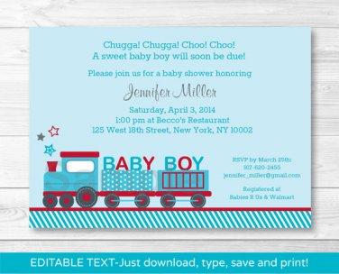 Choo Choo Train Red Blue Baby Boy Printable Baby Shower Invitation Editable PDF #A268